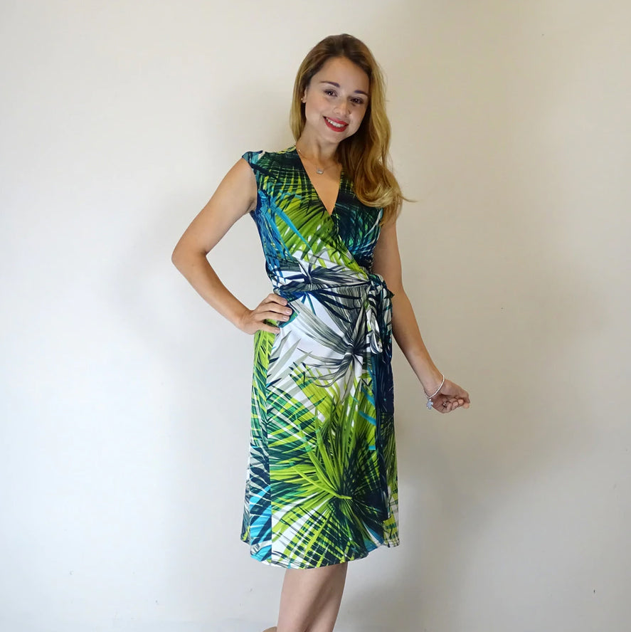 Tropical Island Sleeveless Wrap Dress - Rebecca Ruby