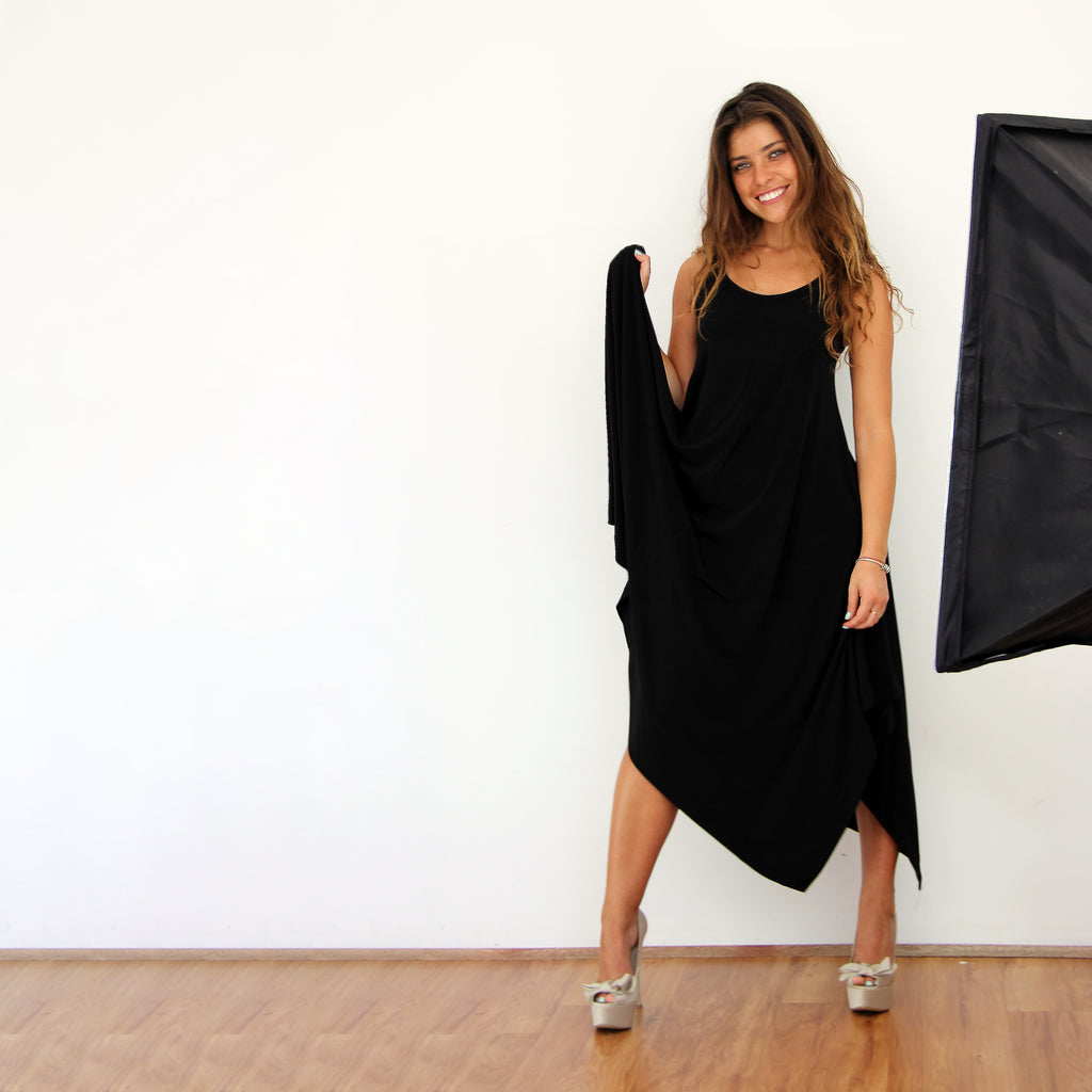 Black Hanky Hem Dress - Rebecca Ruby