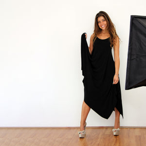 Black Hanky Hem Dress