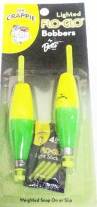 "Betts Mr.Crappie Flo Glo 2.50"" Cigar 2ct Yellow-Green"