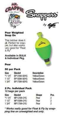 "Betts Mr.Crappie Snappers Wgt 1.25"" Pear 2ct Yellow-Green"