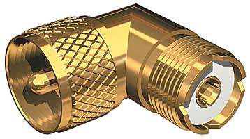 Shakespeare Right Angle Pl259 To So239 Adapter Gold Plated
