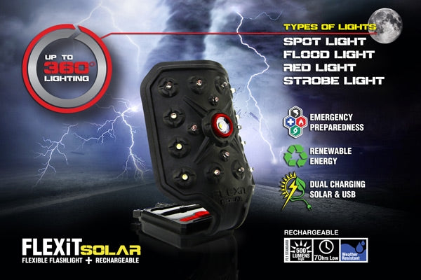 Striker Flex-it Solar Flashlgt - W-usb Quick Charge Port 5 Mode