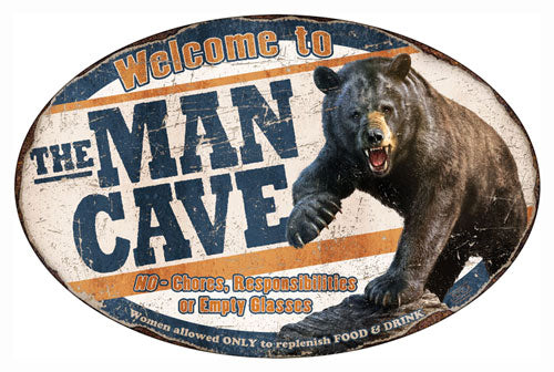 Rivers Edge Man Cave Bear Tin - Sign