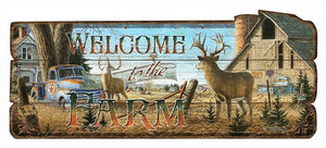 "Rivers Edge Wood Sign 34""x14"" - ""welcome To The Farm"""