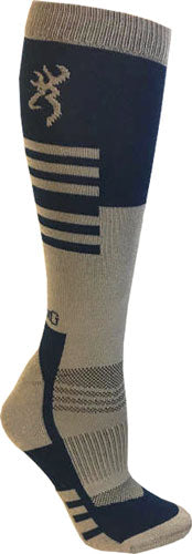 Bg Unisex Elm Socks M-l - Blue & Taupe Calf Height