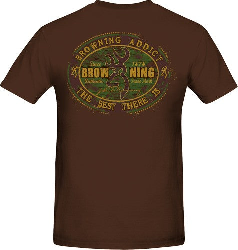 "Bg Men's T-shirt ""browning - Addict"" Small Brown W-logo<"