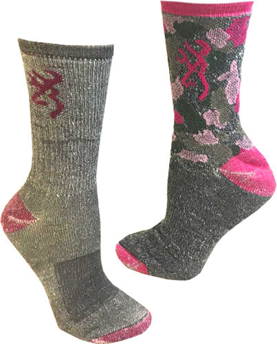 Bg Ladies 2 Pack Wool Blend - Socks Med Grey-pink & Pinkcamo