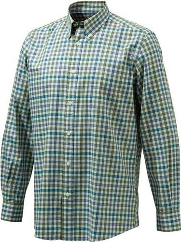 Beretta Men's Drip Dry Long - Sleeve Beige Chkc Fancy Small