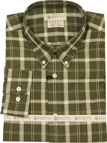 Beretta Men's Drip Dry Long - Sleeve Green-beige Check Small