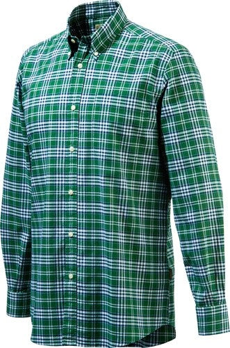 Beretta Men's Drip Dry Long - Sleeve Green Check Medium