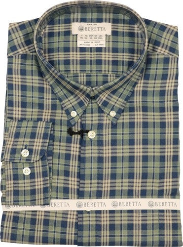 Beretta Men's Drip Dry Long - Sleeve Green & Blue Check Smal