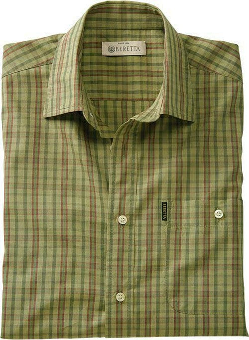 Beretta Men's Drip Dry Short - Sleeve Green Check Large