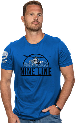 Nine Line Apparel Helicopter - Men's T-shirt Ryl Blue X-large