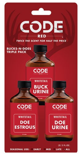 Code Red Deer Lure Bucks-n- - Does Triple Pack 2fl Oz-ea