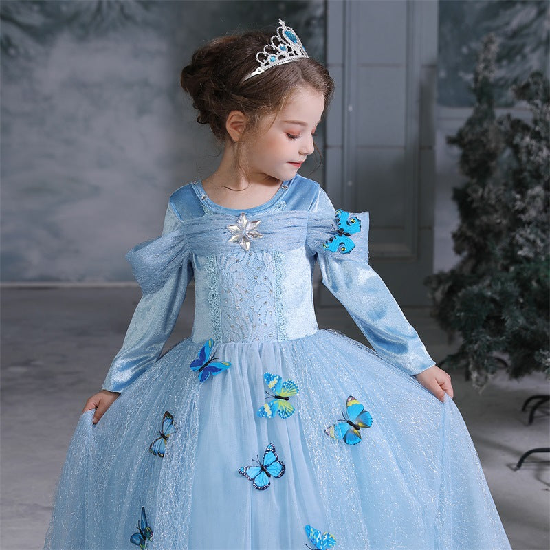 New Cinderella Long Selevee Princess Girls Costume Dresses For Cosplay Party Holiday