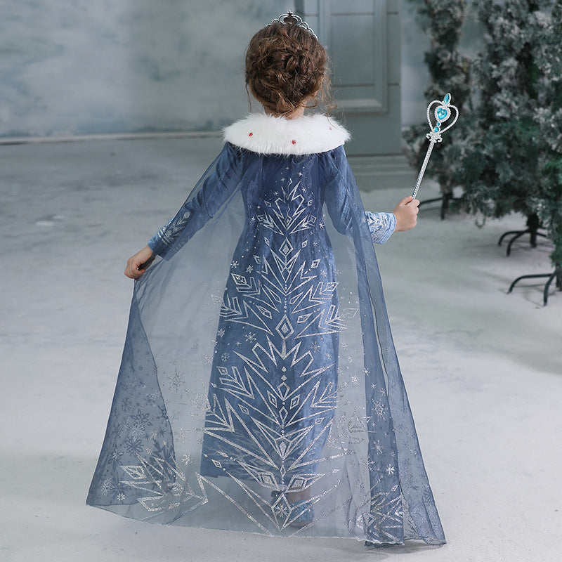 New Frozen Toddler Kids Elsa Princess Girls Costume Dresses Cosplay Cloak Crown Wand Party Holiday