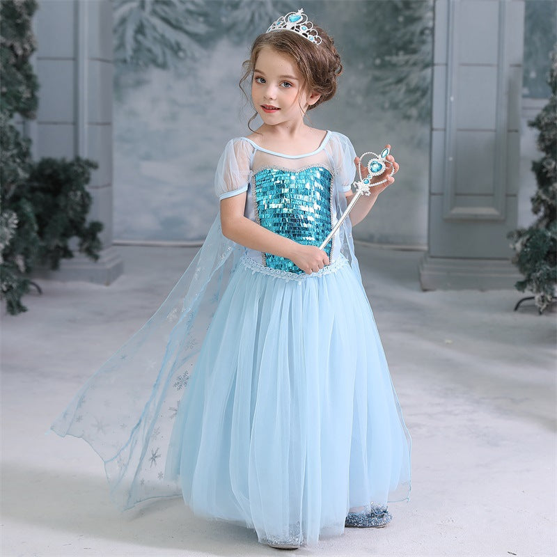 Frozen Elsa Princess Sequins Girls Costume Dresses With Crown Wand For Cosplay Party Holiday Fancy Dress