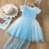 Frozen 2 Inspired Elsa Princess Trailing Star Girls Costume Dresses with Crown wand