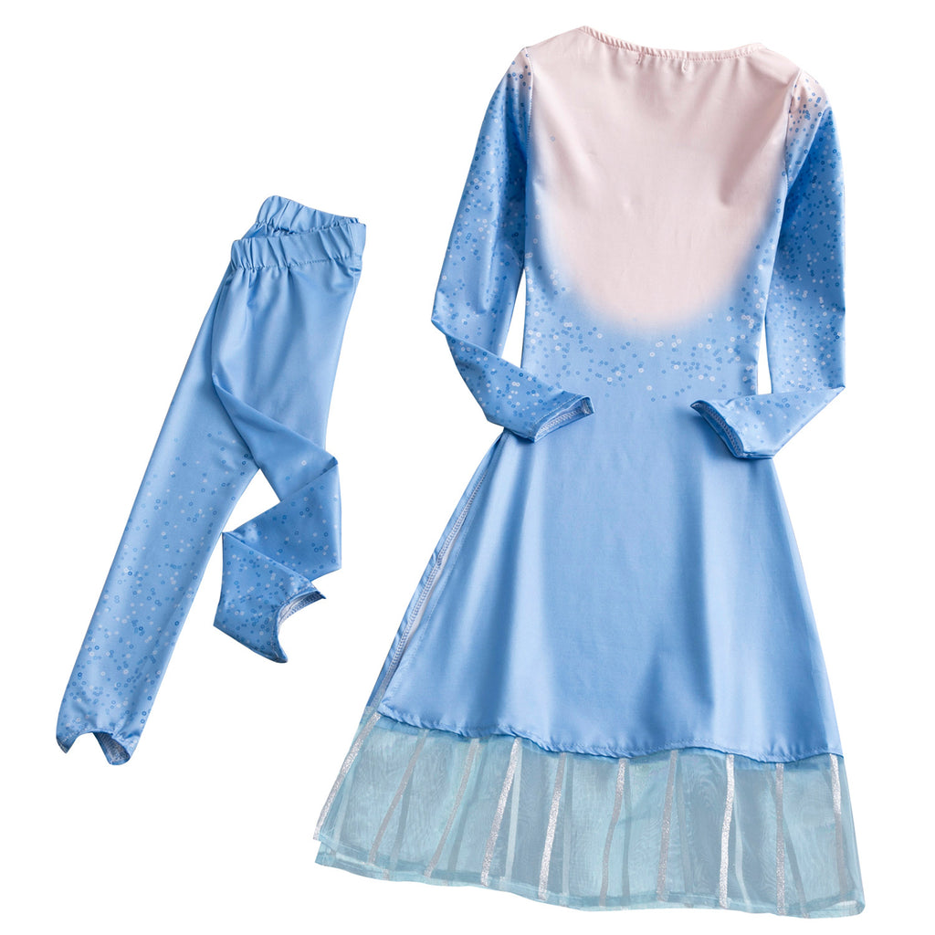 Frozen 2 Toddler Kids Elsa Girl Costume 2 pieces Dresses Pants Outfit