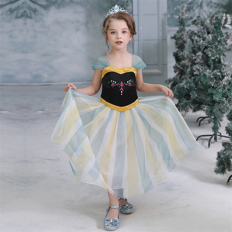 Frozen Princess Anna Costumes Girl Tulle Dresses For Birthday Holiday Party