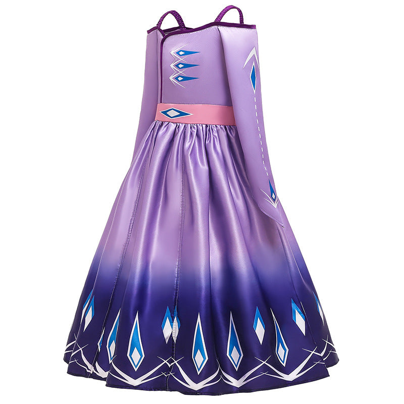 Frozen 2 Girls Elsa Princess Cosplay Costume Dresses For Party Holidays Fancy Dress