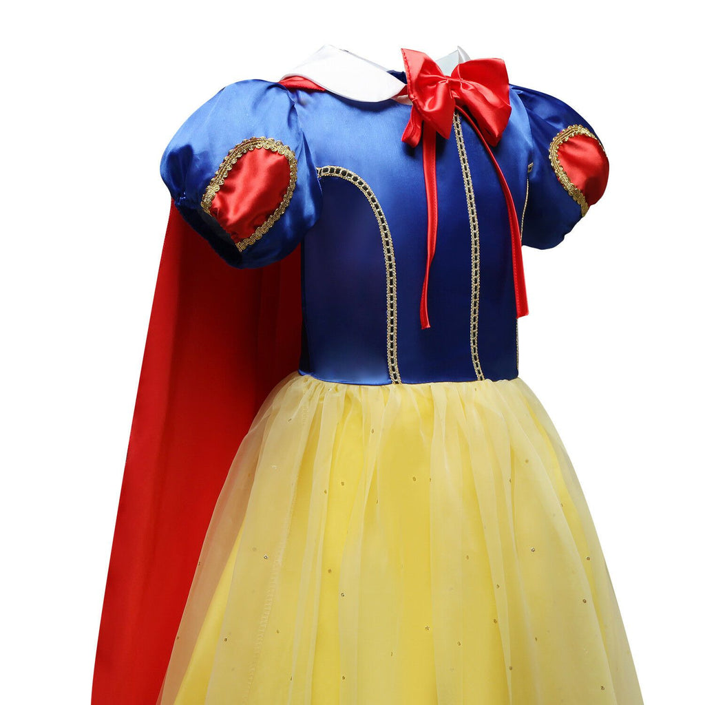 New Girls Snow White Costume Dresses Princess Long Fancy Halloween Party Cosplay