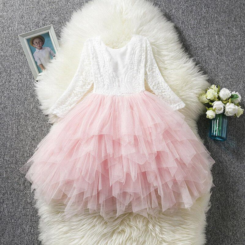 Flower Girl Dresses Princess Toddler Party Tutu Birthday Lace Tulle Holiday Dresses