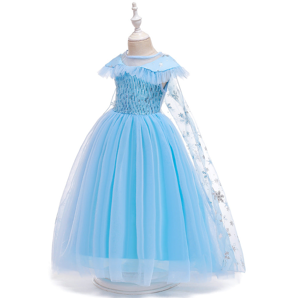 Frozen 2 Elsa Princess Sequins Girls Costume Dresses with Crown wand Cosplay Party Holiday