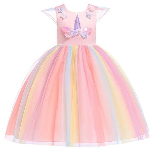 New Unicorn Cute Girls Costume Dresses Handband Toddler Kids Holiday Party Cosplay Dresses