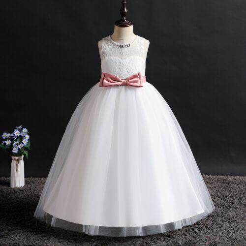 Flower Girl Dresses Kids Princess Wedding Formal Graduation Party White Ball Gown