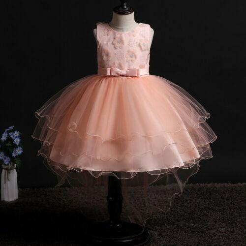 Flower Girl Dresses Toddler Kids Princess Floral Wedding Tutu Holiday Trailing Party