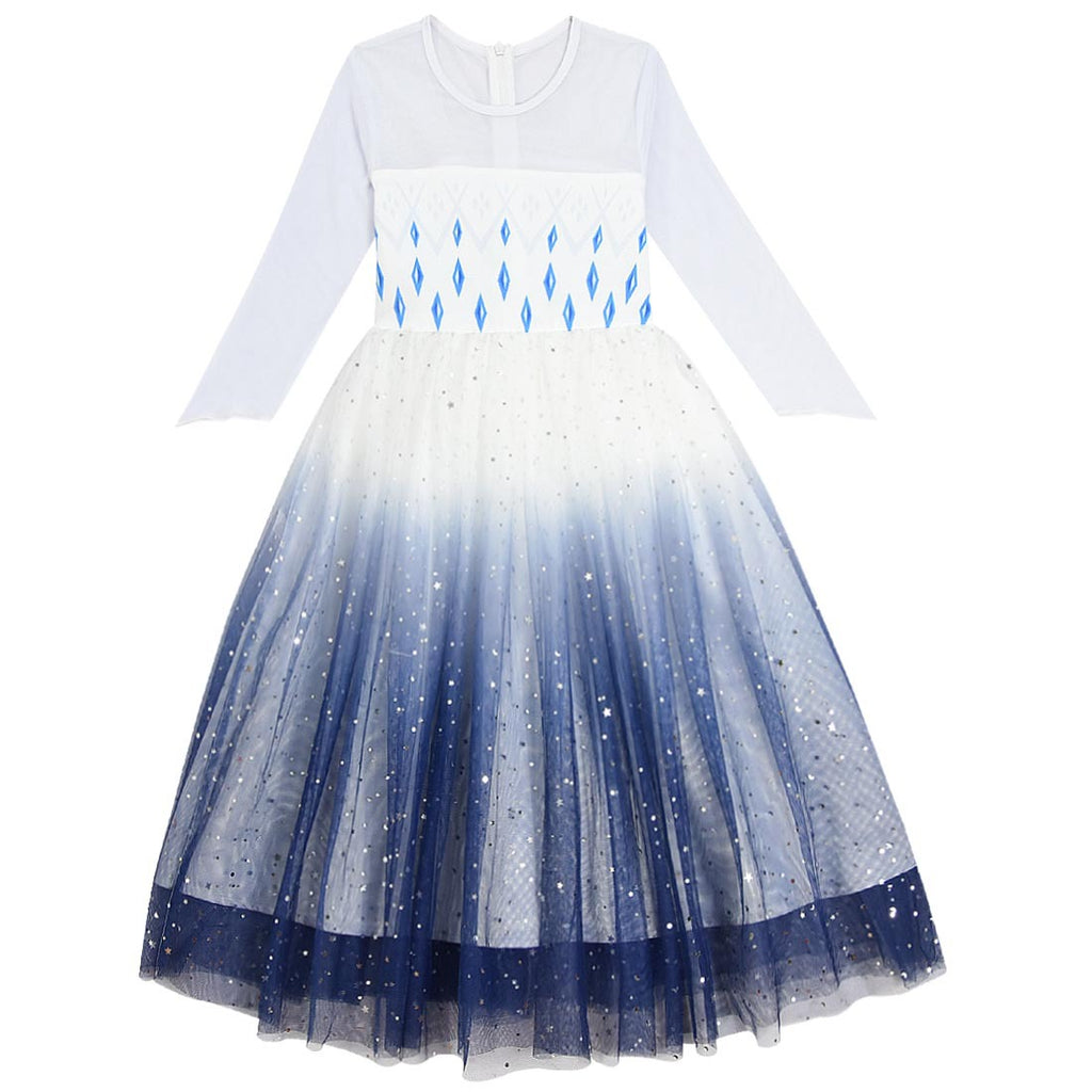 Frozen 2 Girls Elsa Princess Starry sky Long Sleeve Dresses With Crown Wand For Party Holidays