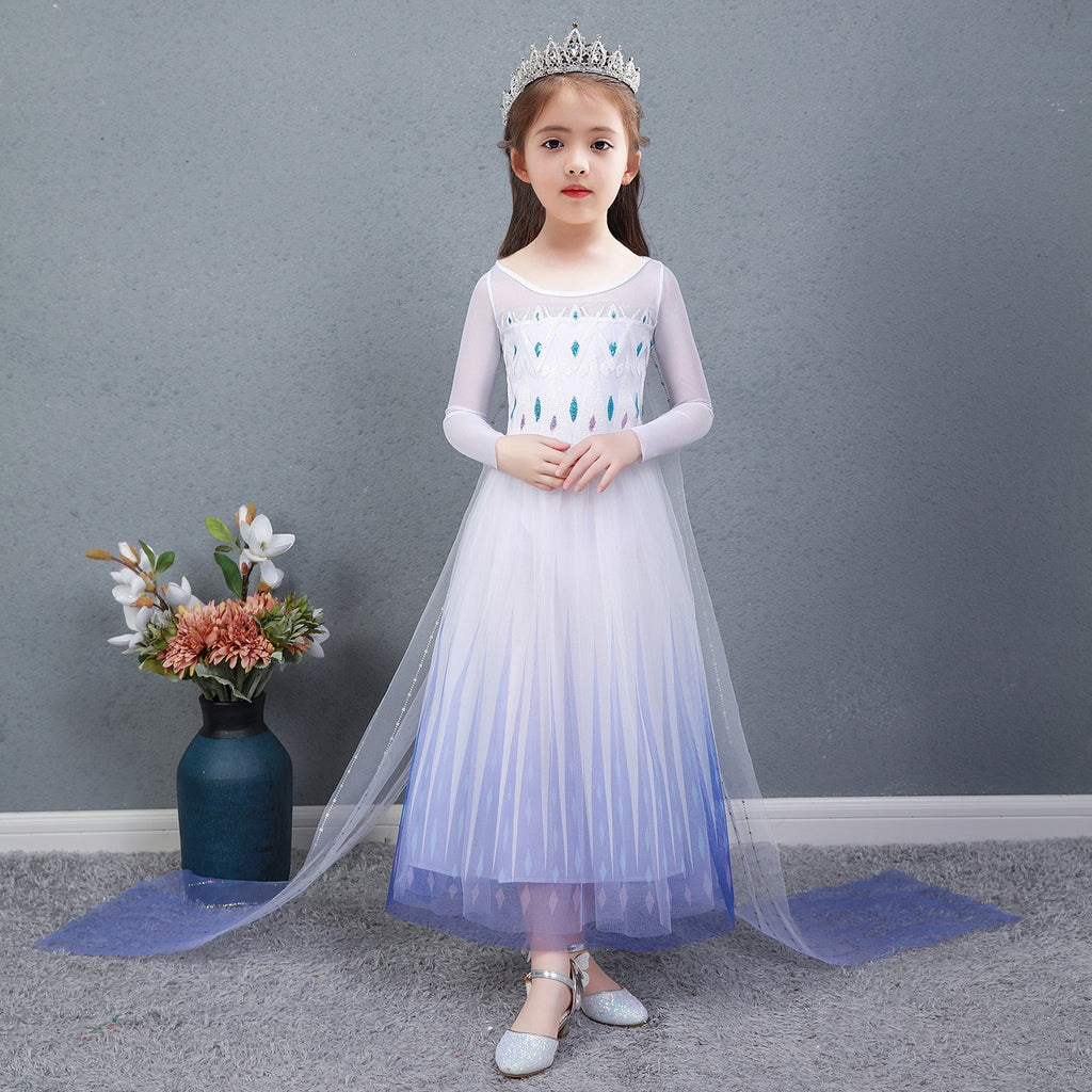 Frozen 2 Girls Elsa Princess Long Sleeve Tulle Cosplay Costume Dresses with Cape For Party Holidays