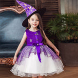 Girls Toddler Kids Witch Costume Dresses with hat For Halloween Holiday Party