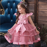 Flower Girl Dresses Ruffle Toddler Kids Knee Length Princess Wedding Formal Holiday Birthday Party