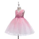 Girl Kids Toddler Sleeveless Pearl Wedding Dresses