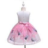 Birds Printed Toddler Kids Girl Formal Wedding Dresses