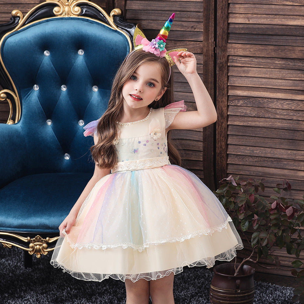 New Unicorn Baby Little Girls Toddler Costume Dresses Headband Cosplay Princess Party Holiday