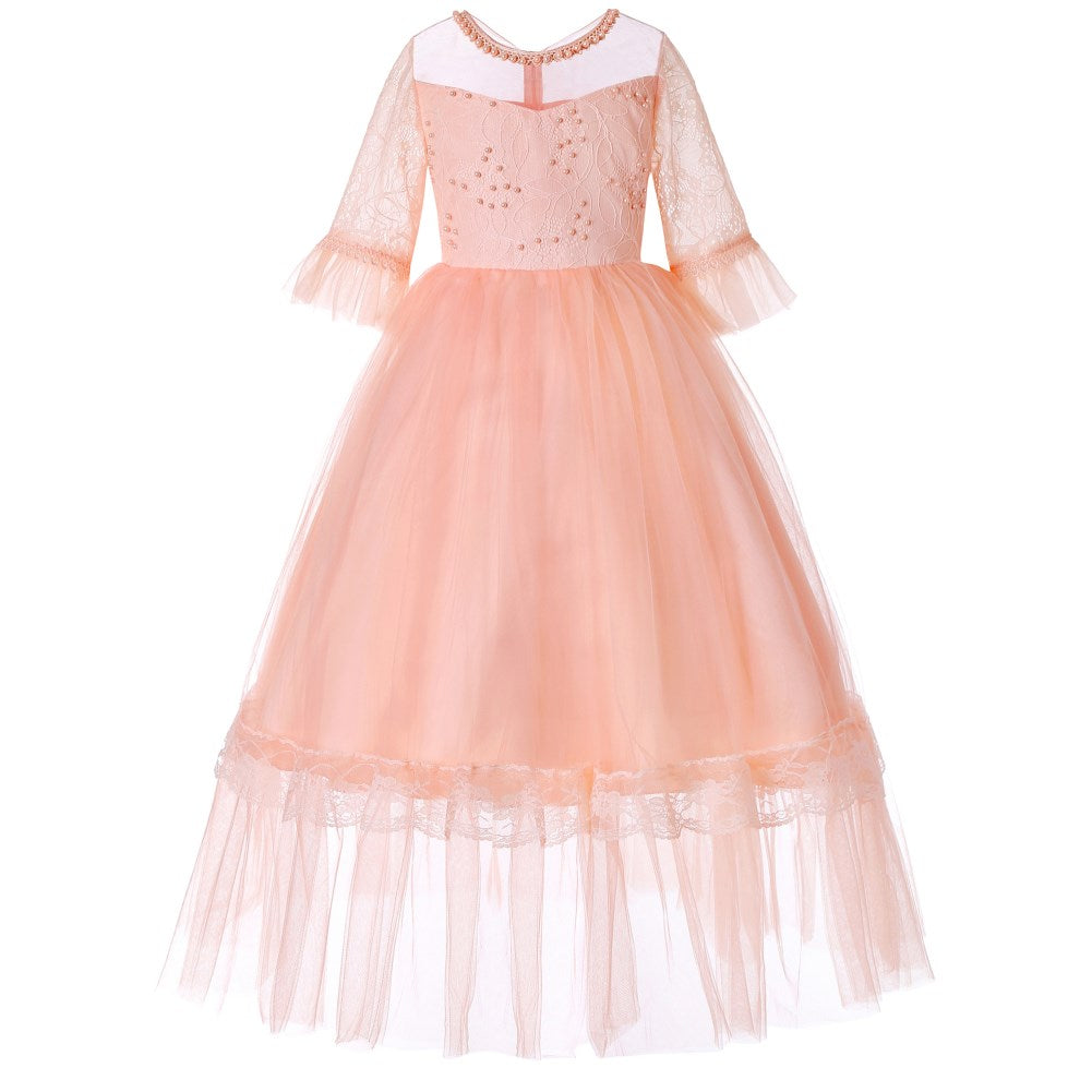 Girls Kids Formal Lace Princess Party Wedding Dresses Full Length Ball Gown