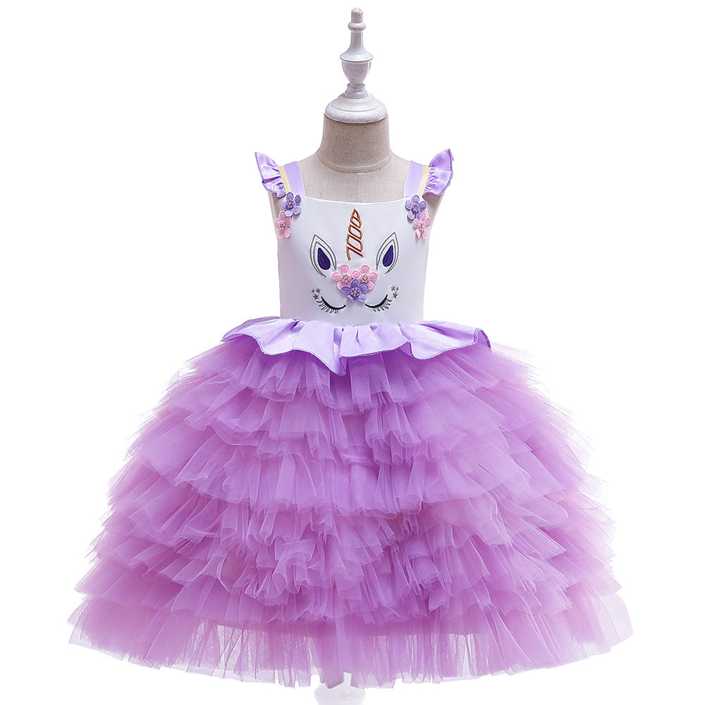 New Unicorn Girls Costume Dresses Cosplay Fancy Princess Party Tutu Holiday Dress