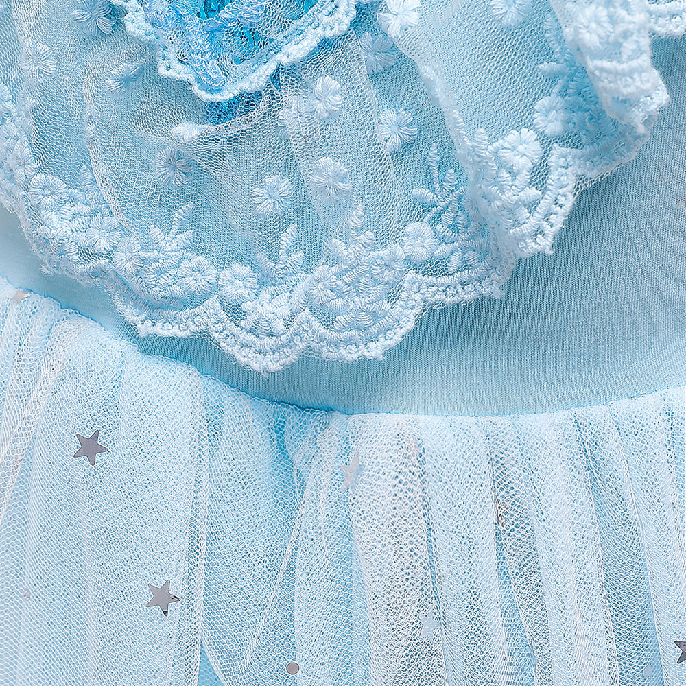 Frozen 2 Elsa Inspired Princess Tulle Sequins Girls Costume Dresses with Crown wand For Party Holiday