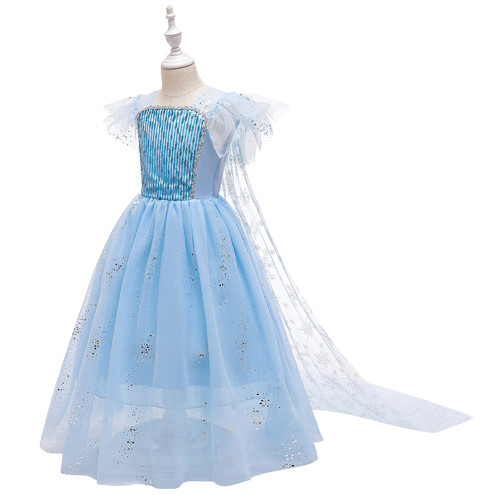 Frozen 2 Elsa Princess Short Slevee Cosplay Costume Dresses with Trailing Cape