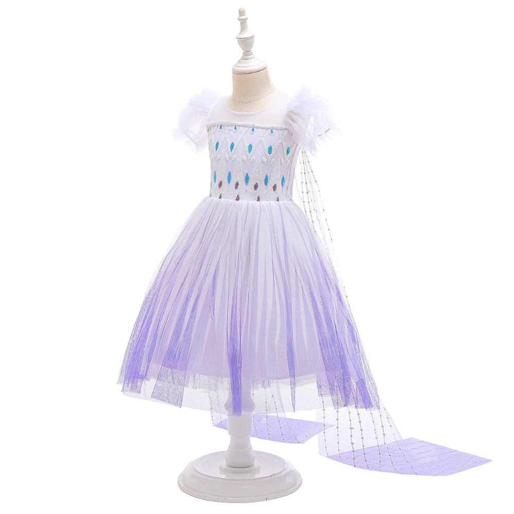 Frozen 2 Girls Elsa Princess Knee Length Tulle Cosplay Costume Dresses with Cape For Party Holidays