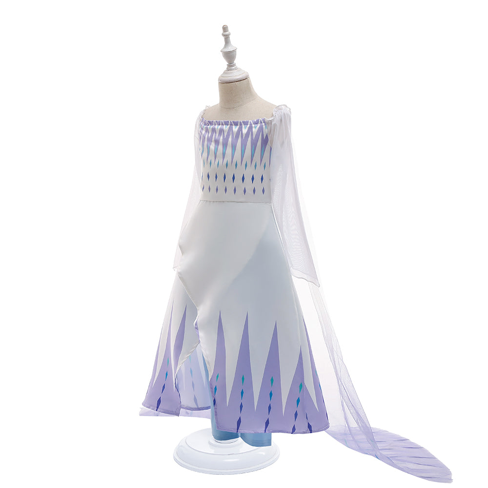 Frozen 2 Girls Elsa Princess Cosplay Costume Dresses With Cape Pants For Party Holidays