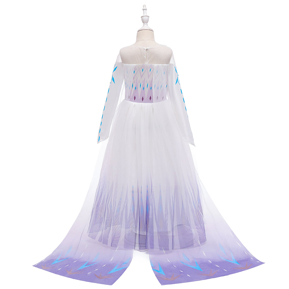Frozen 2 Elsa Princess Long Sleeve Tulle Girl Costume Dresses with Cape