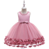 Flower Girl Dresses Toddler Kids Pearl Neck Princess Wedding Bridesmaid Formal Graduation