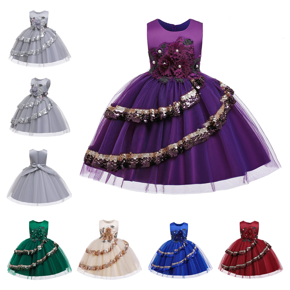 Flower Girl Dresses Kids Sequins Princess Wedding Bridesmaid Formal Graduation Party