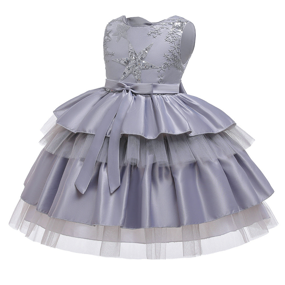 Flower Girl Dresses Star Sequins Kids Princess Wedding Bridesmaid Formal Graduation Party