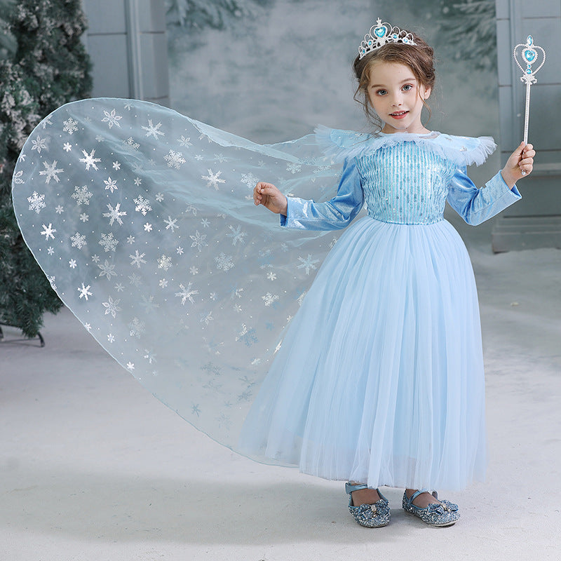 New Kids Frozen Elsa Princess Girls Costume Dresses With Crown Wand Cosplay Party Holiday